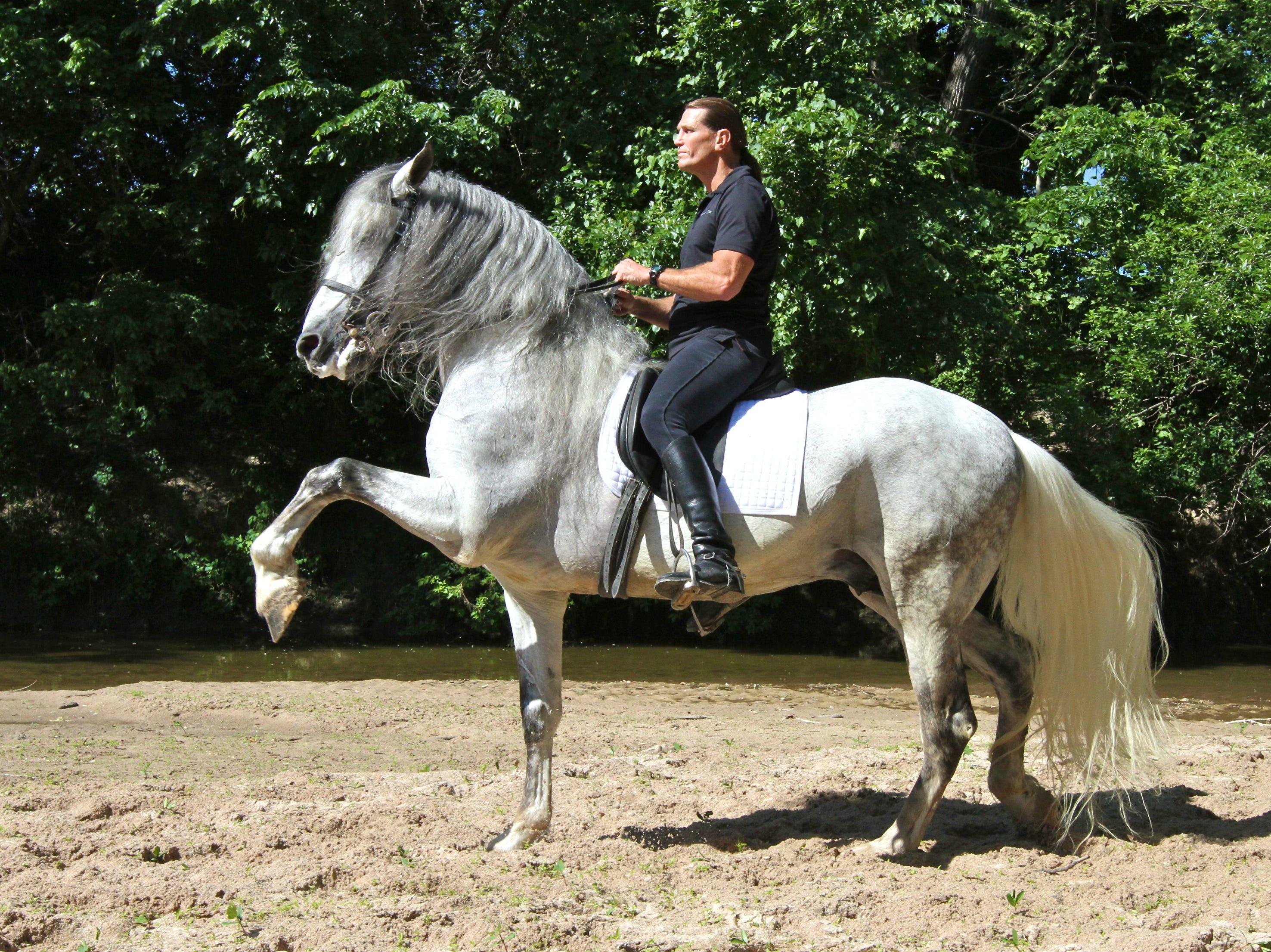 Tim Baker riding a horse.