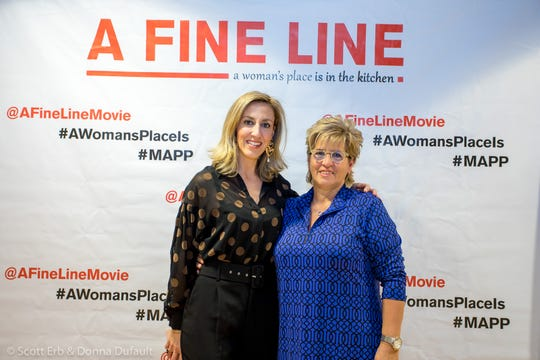 """A Fine Line"" director Joanna James, left, is shown with her mother, Valerie James, during a screening of the film."