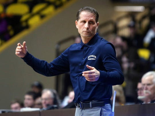 Nevada coach Eric Musselman reacts to a call during the first half Saturday in Laramie, Wyo.