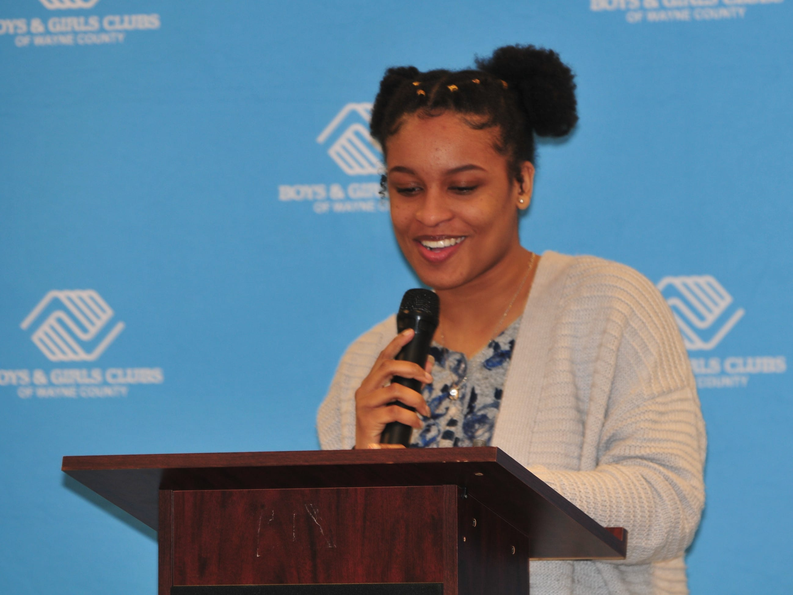 Jada Jointer presents her essay Monday during the Boys and Girls Clubs of Wayne County Youth of the Year competition at the Jeffers Unit.