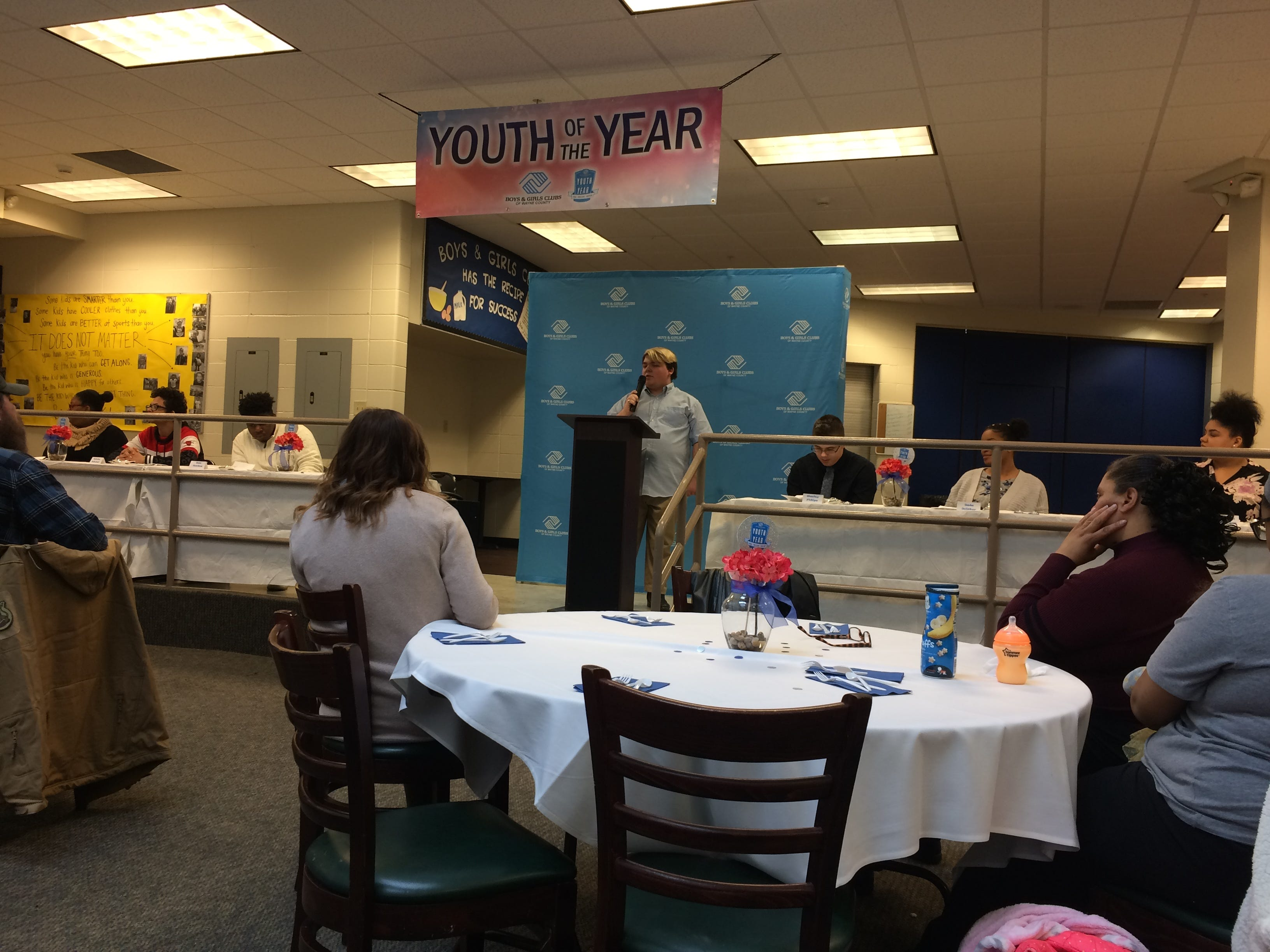 Mikey Martin addresses those in attendance for the Youth of the Year luncheon at the Jeffers Unit.