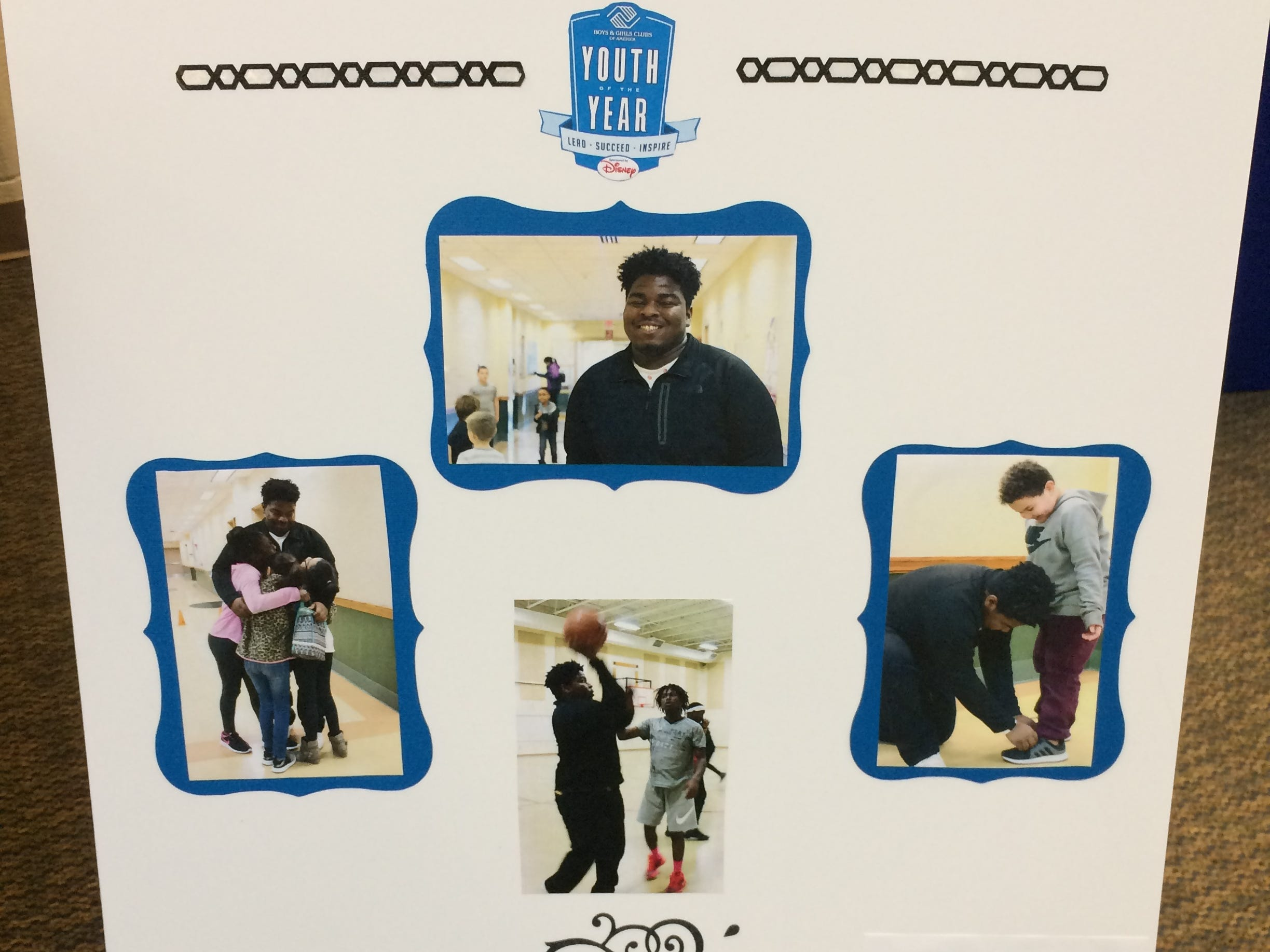 A poster represents Samuel Gamboa during the Boys and Girls Clubs of Wayne County Youth of the Year competition at the Jeffers Unit.