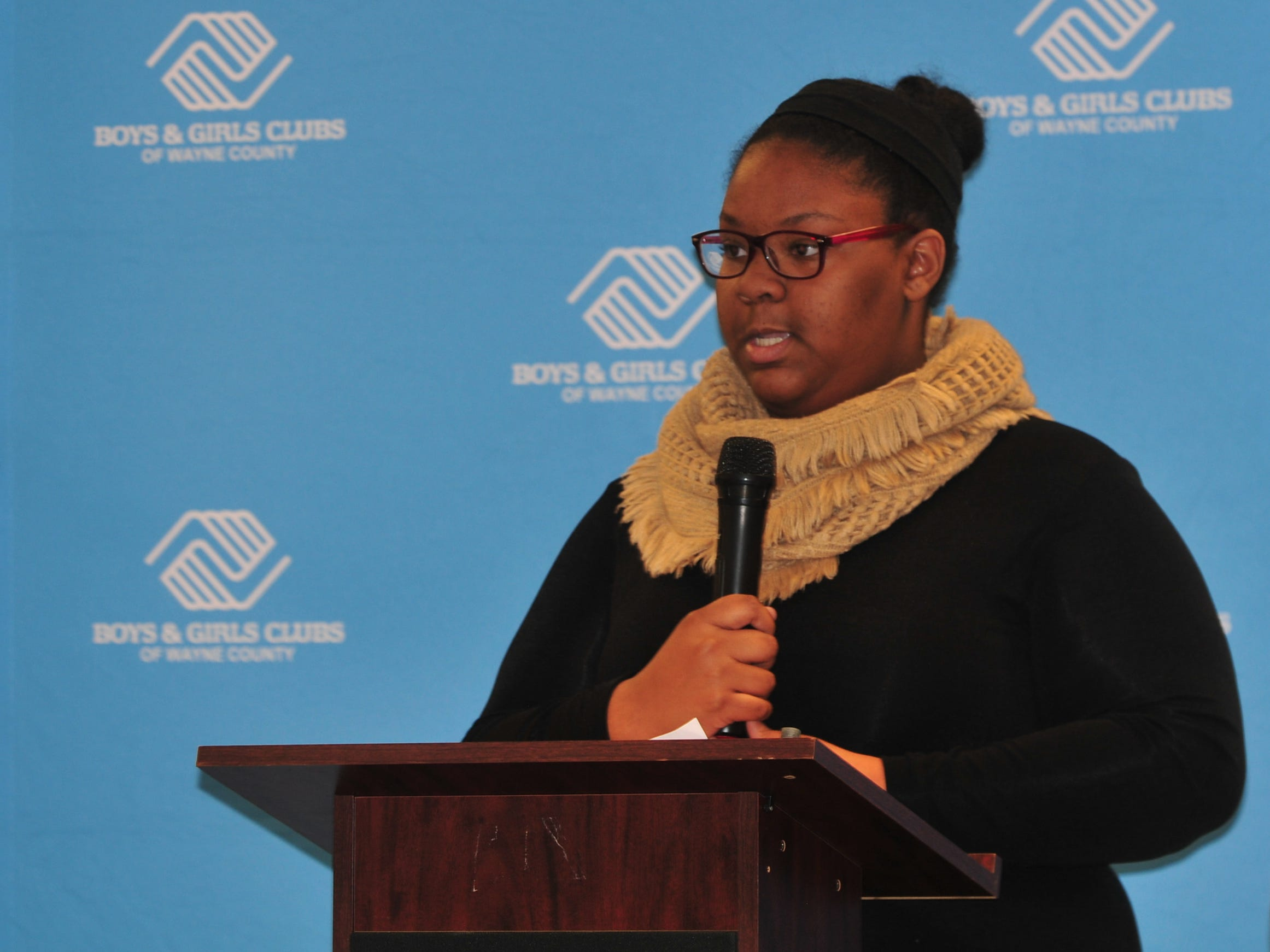 Mika Parks presents her essay Monday during the Boys and Girls Clubs of Wayne County Youth of the Year competition at the Jeffers Unit.