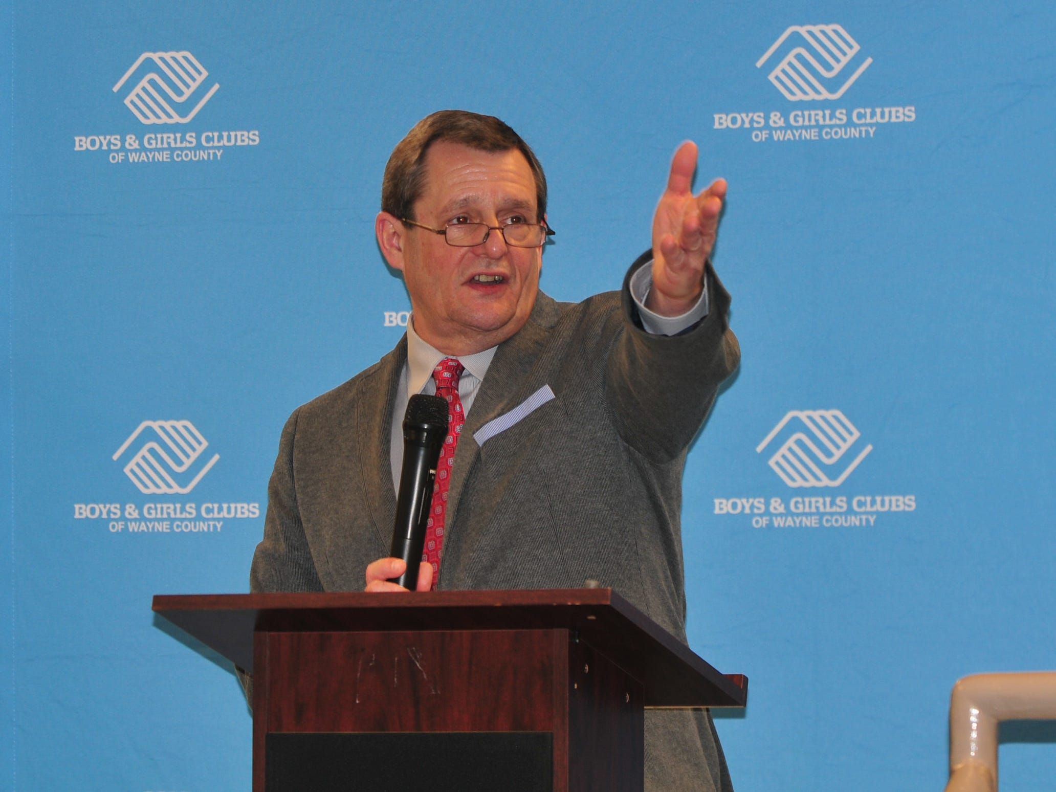 David Woolpy, associate executive director of the Boys and Girls Clubs of Wayne County, speaks Monday.