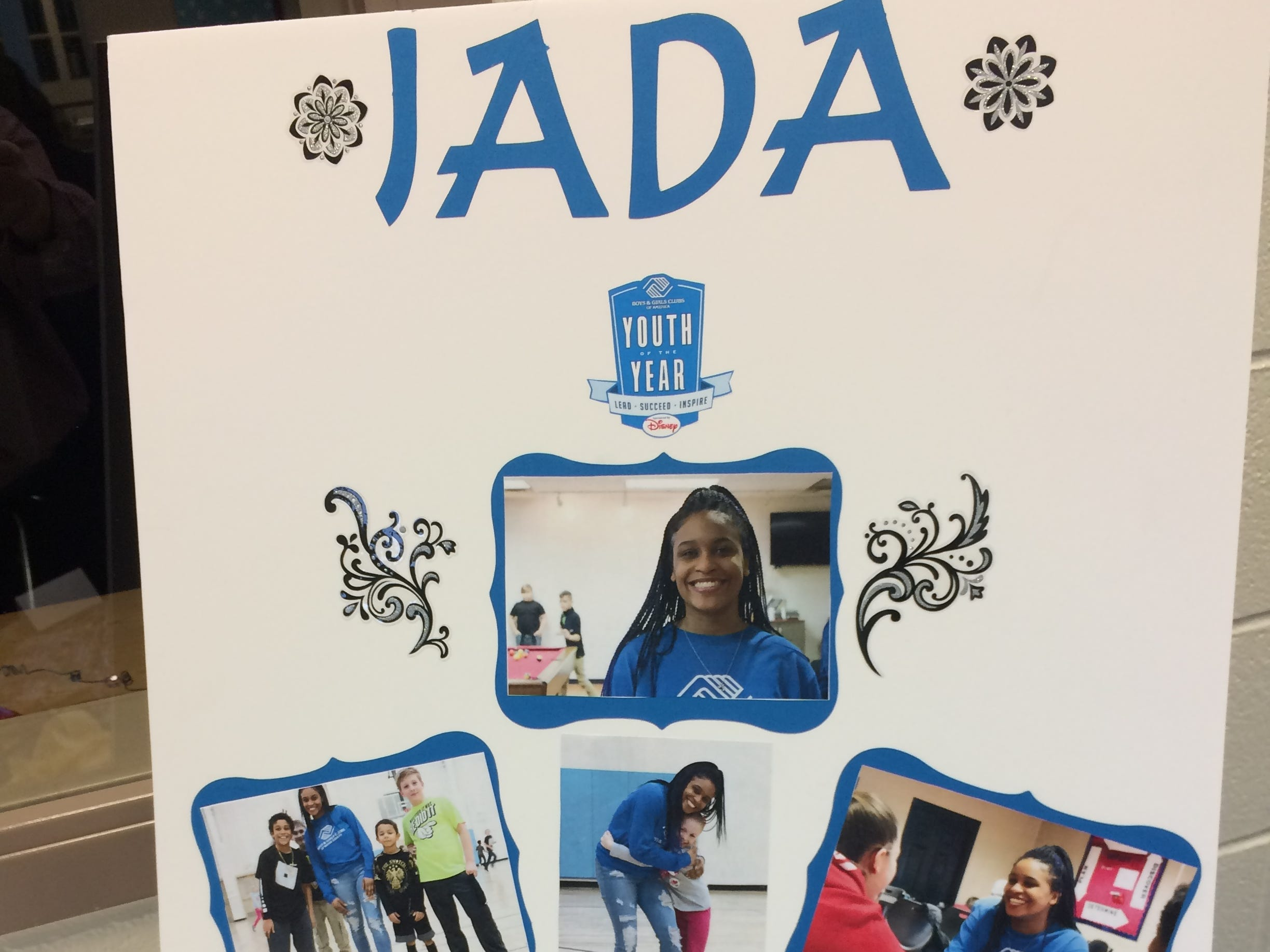 A poster represents Jada Jointer during the Boys and Girls Clubs of Wayne County Youth of the Year competition at the Jeffers Unit.