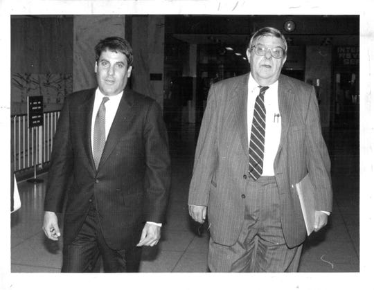 Charles F. Crimi Sr., (right), shown here with the physician Timothy L. Stern (left) on Sept. 24, 1987. Stern was given five years probation for mail fraud & illegal distribution of a controlled substance (codeine).