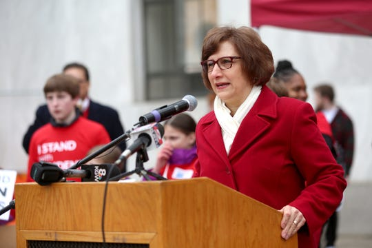 Congresswoman Suzanne Bonamici (D-Ore.) speaks to educators in supporters before they march at the Oregon State Capitol in support of public education on Monday, Feb. 18, 2019.