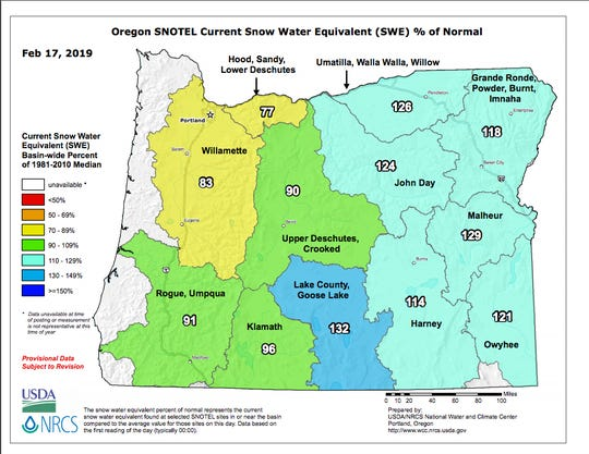 Oregon snowpack measurements statewide.