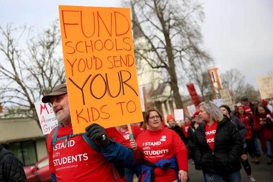Around 2,500 educators, students and supporters from across the state marched around the Oregon State Capitol in support of public education on Monday, Feb. 18, 2019. Some issues they focused on included school funding, large class sizes and missing support staff among others.
