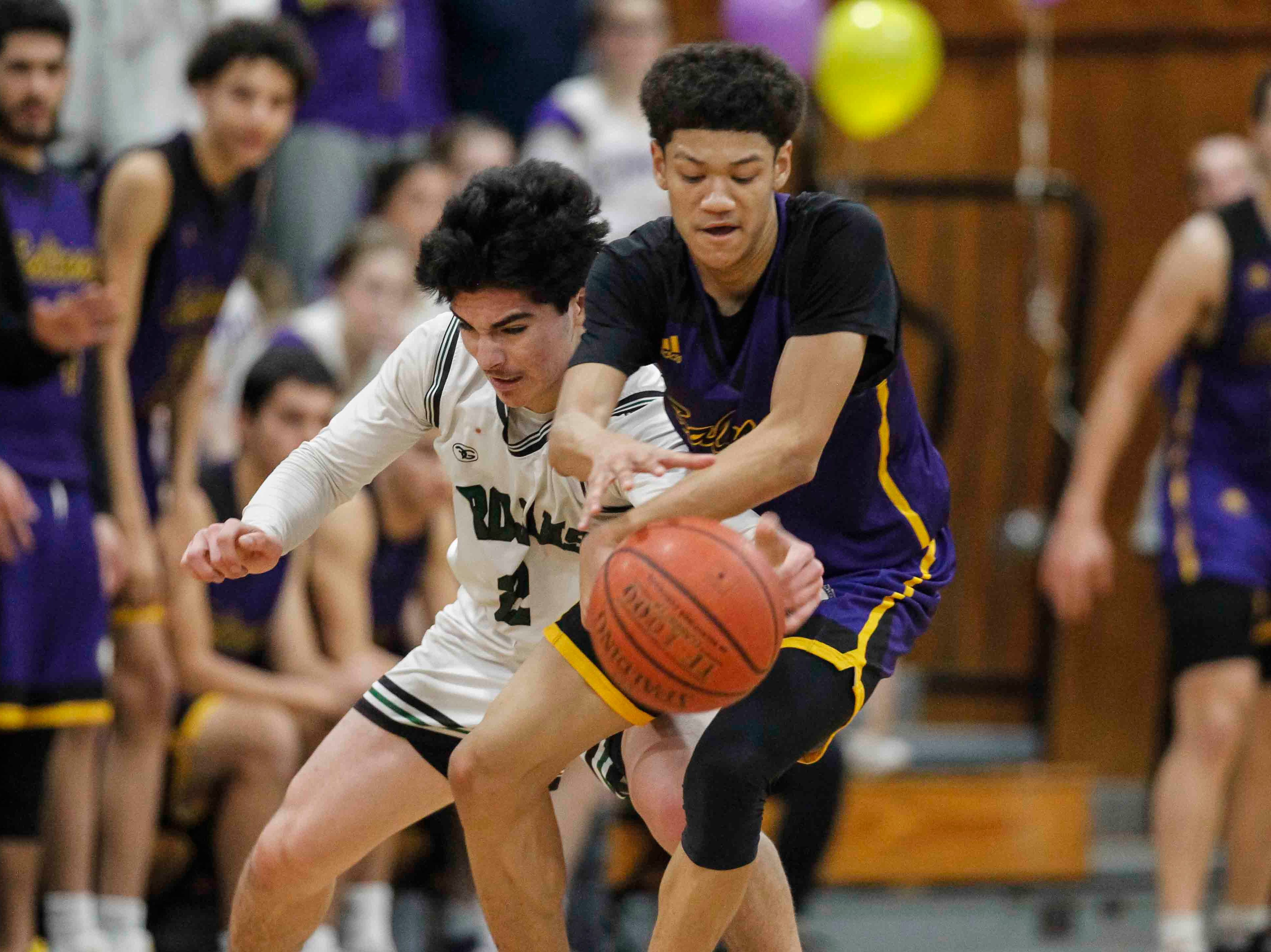 Cross-town rivals in action during an 2019 CIF Central Coast Section Boys Basketball Playoffs - Division I game between the Alisal Trojans and the Salinas Cowboys in which the Cowboys defeated the Trojans 67-56 at Alisal High School on February 16, 2019 in Salinas, Calif.