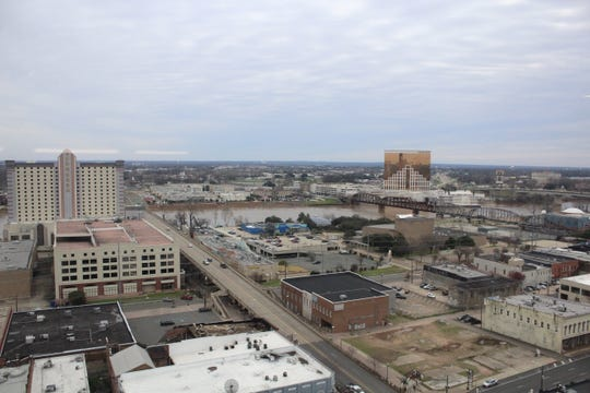 A view of Shreveport, Bossier City and the Red River from Shreveport's American Tower.