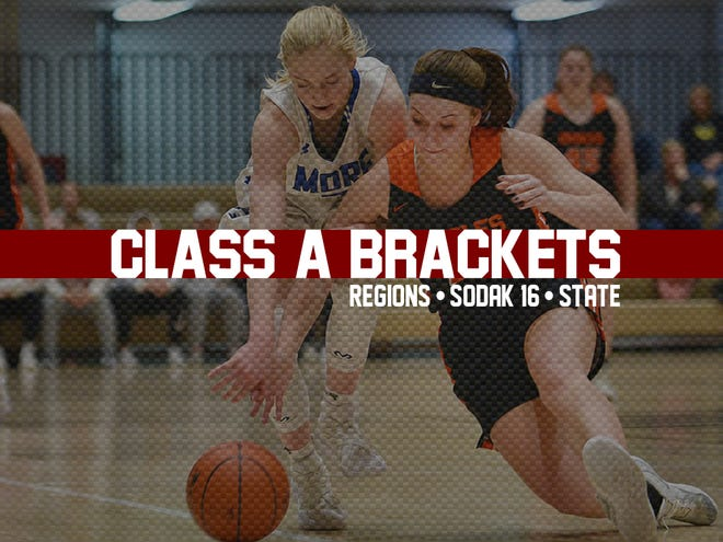 Class A girls 2019 state tournament, SoDak16 and regions tile.