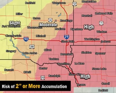 The risk of at least two inches of snow falling by Wednesday, Feb. 20, 2019 in southeast South Dakota.