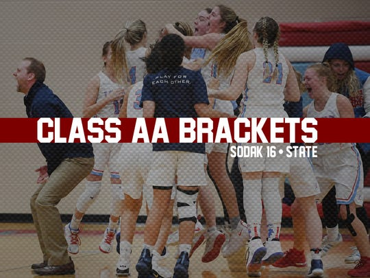Class AA girls 2019 state tournament and SoDak16 tile.