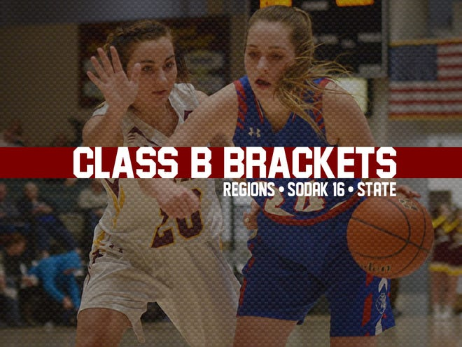 Class B girls 2019 state tournament, SoDak16 and regions tile.