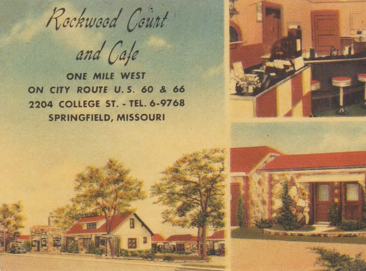 This 1940s-era postcard advertises the Rockwood Court and Cafe on historic Route 66. The property is now Bigfoot Subs, 2204 W College St.