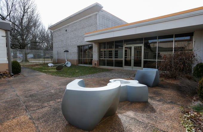 The courtyard at the Springfield Art Museum where robbers entered the museum and stole seven Warhol screenprints in 2016.