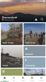 The free Shenandoah National Park app, which includes hiking guides, tours and more for an enhanced experience of the park.