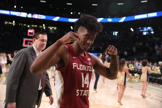 Feb 16, 2019; Atlanta, GA, USA; Florida State Seminoles guard Terance Mann (14) celebrates their win against the Georgia Tech Yellow Jackets at McCamish Pavilion. Mandatory Credit: Jason Getz-USA TODAY Sports