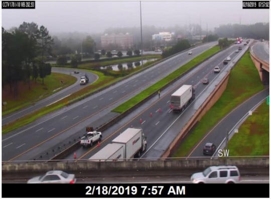 Two turn lanes on Thomasville Road at the Interstate 10 overpass areclosed after a truck crashed spilling a load of nails on the roadway.