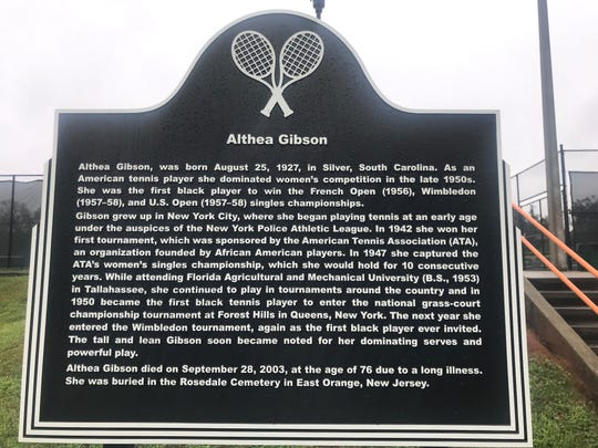 """FAMU Sports Hall of Famer Althea Gibson has a historical marker outside the tennis facilities. She is the subject of a documentary titled """"Althea & Arthur"""" airing on CBS Sports Network."""