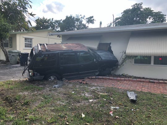 This SUV was crashed into a house in Stuart after being struck by a vehicle.