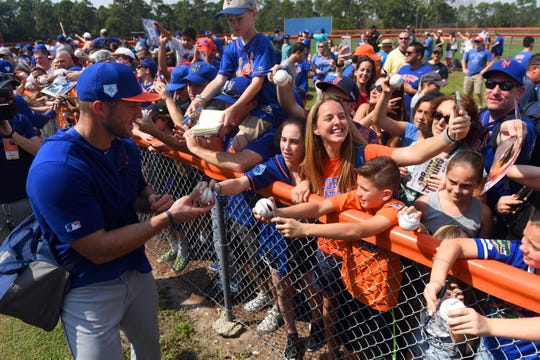 Mets minor league outfielder Tim Tebow signs autographs at the First Data Field Complex on Monday, Feb. 18. The Mets first spring training game is Saturday, Feb. 23 against the Atlanta Braves.