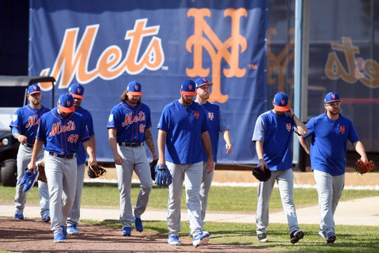 Spring training workouts continued for the New York Mets with a full-squad practice on Monday, Feb. 18, 2019 at First Data Field in Port St. Lucie. The Mets' first spring training game is against the Atlanta Braves on Feb. 23.