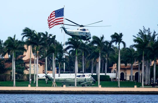 Two Marine Corps helicopters depart Feb. 18, 2019, from President Donald Trump's Mar-a-Lago resort in Palm Beach.