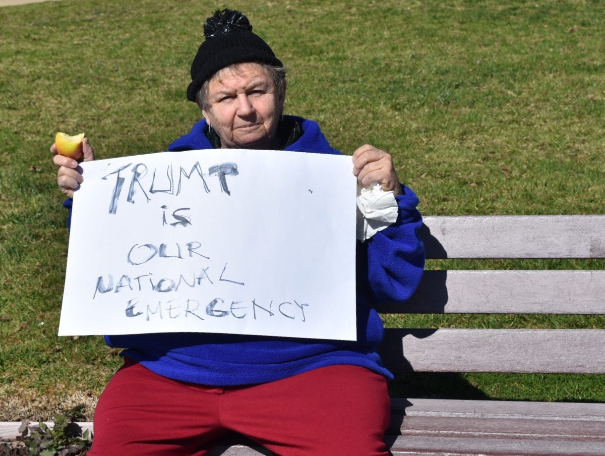 Ada Feldman, 77, of Ventura, carried a sign targeting the president in a rally on Presidents Day.