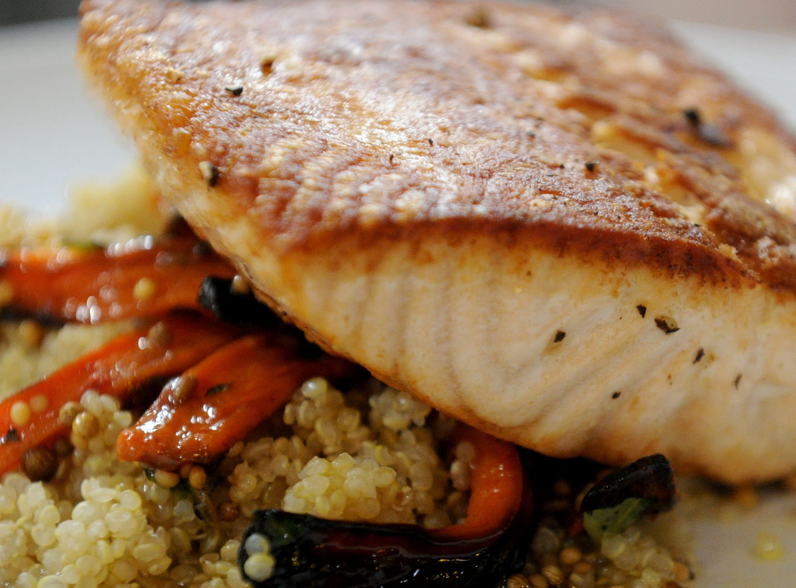 Seared Atlantic salmon is served at  Decker Kitchen in Westlake Village.