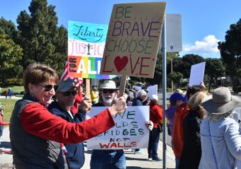 A Presidents Day rally in Ventura, like others across the nation, was organized to protest President Trump's national emergency declaration.