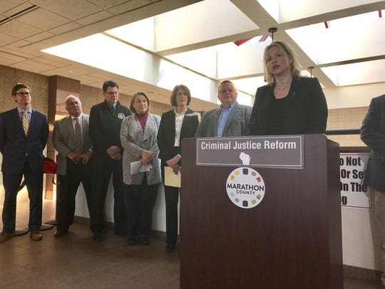 Marathon County District Attorney Theresa Wetzsteon speaks at a press conference about criminal justice reform on Feb. 18, 2019 at the Marathon County Courthouse in Wausau.