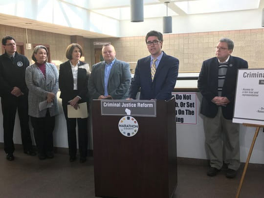 Portage County District Attorney Louis Molepske speaks at a press conference about criminal justice reform on Feb. 18, 2019 at the Marathon County Courthouse in Wausau.