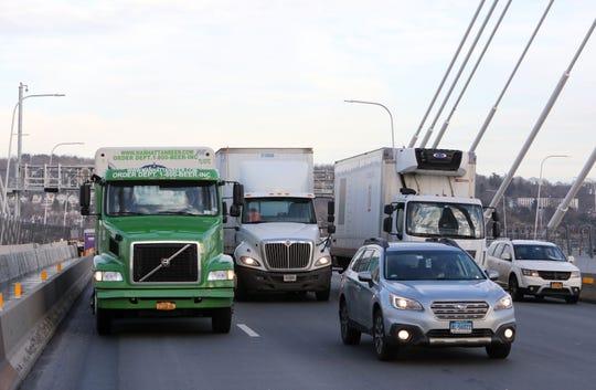 Trucks and cars travel west on the Gov. Mario M. Cuomo Bridge Feb. 15, 2019.