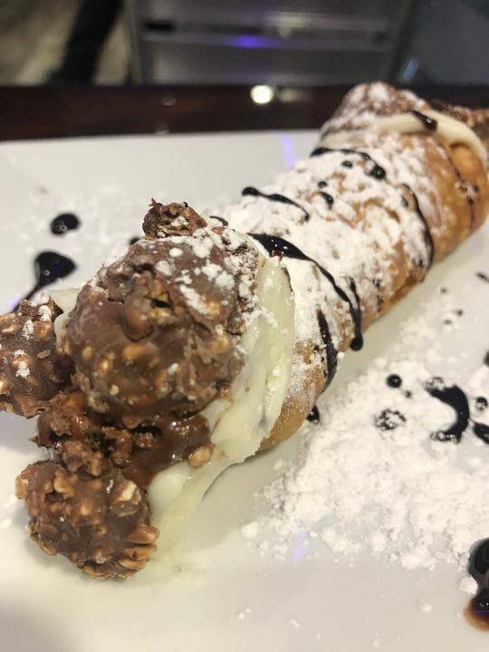 The Joey cannoli, a cannoli made with crushed Ferrero Rocher chocolate. Photographed Feb. 16, 2019.
