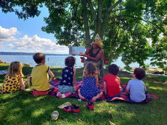 Lady Keyonta reads to kids during the Rockland County Pride Center's Drag Queen Story Hour during the Great Nyack Get-Together in Memorial Park in Nyack on Sept. 15, 2018.