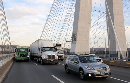 Trucks and cars travel west on the Gov. Mario M. Cuomo Bridge Feb. 15, 2019.