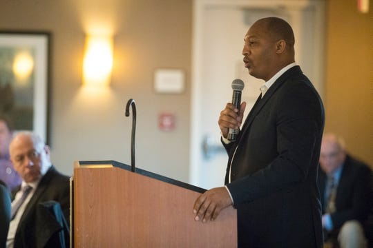 Duffy Samuels of Duffy's Hope Inc. speaks after receiving the 2018 DSBA Herm Reitzes Award for community service Monday afternoon at the 2019 Delaware Sportswriters & Broadcasters Association Banquet at the Sheraton Wilmington South Hotel.