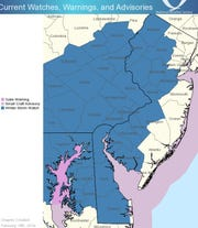 All of Delaware has been placed under a   Winter Storm Watch for Wednesday's storm.