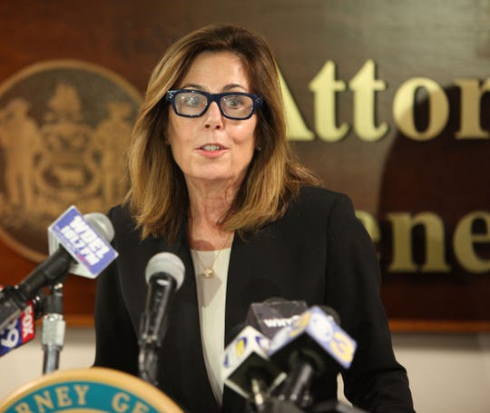 Delaware Attorney General Kathleen Jennings in February at a press conference in Wilmington.