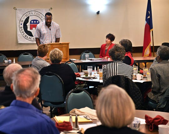 Markelle Martin answers questions after speaking at the monthly meeting of the Wichita County Republican Women Monday at Luby's.