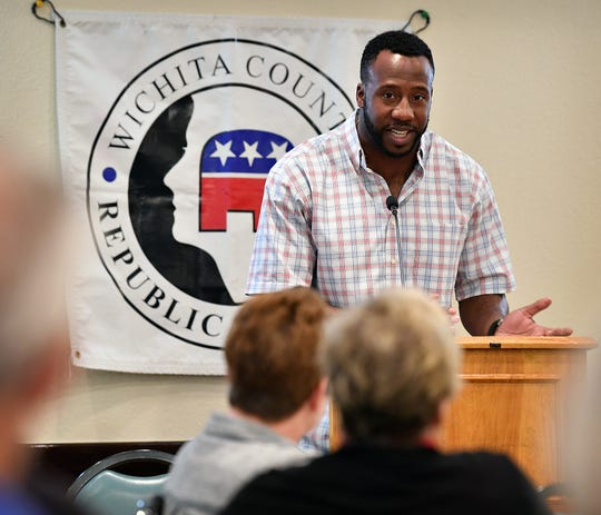 Former NFL football player and graduate of Rider High School Markelle Martin was the guest speaker during Monday's monthly meeting of the Wichita County Republican Women at Luby's.