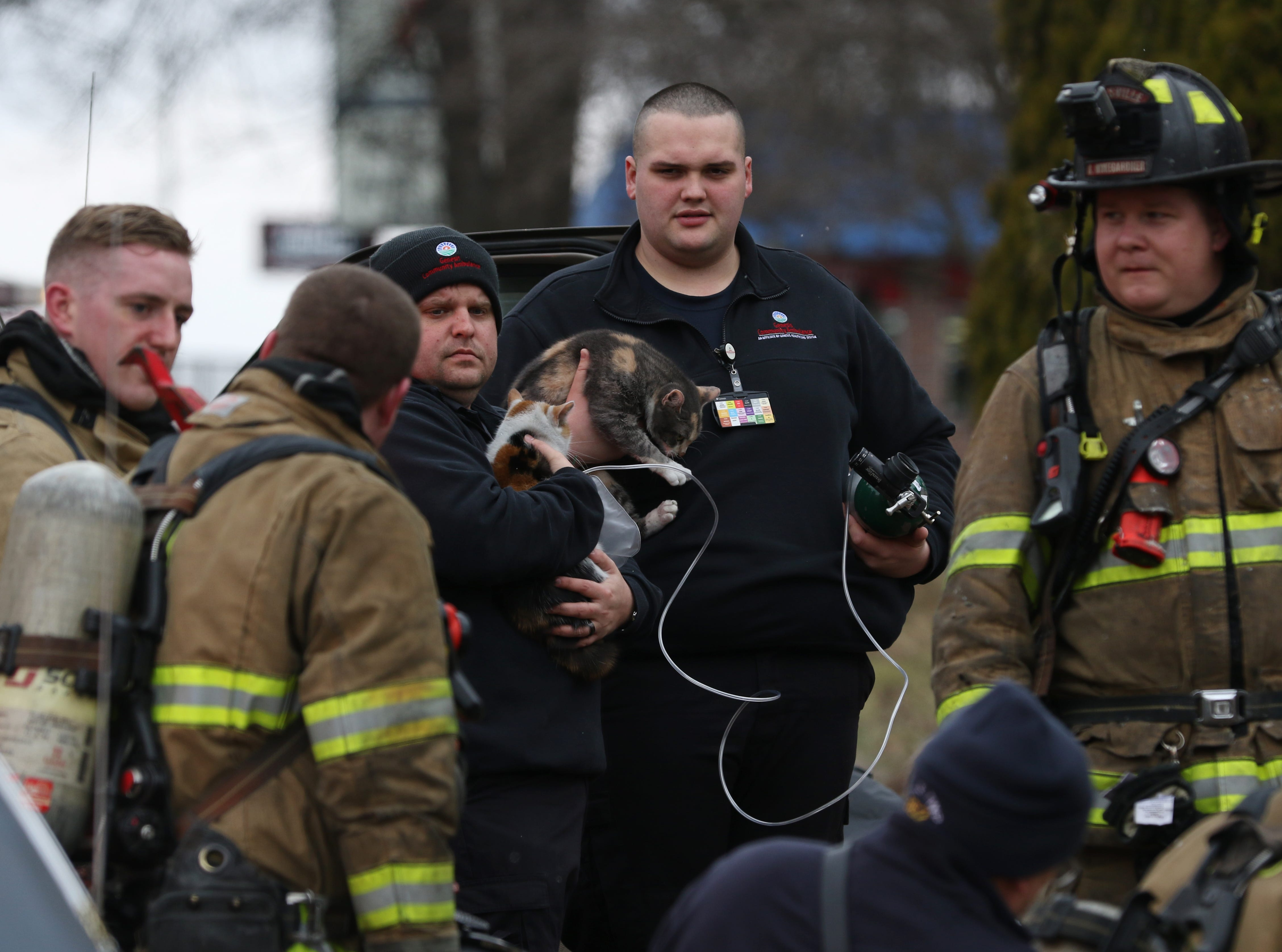 The Zanesville Fire Department fought a fire at 924 Maple Avenue in Zanesville Monday afternoon. Two people were taken to the hospital because of the blaze. Community Ambulance personel administered oxygen to a pair of cats rescued from the fire. A third cat was unaccounted for after the fire.