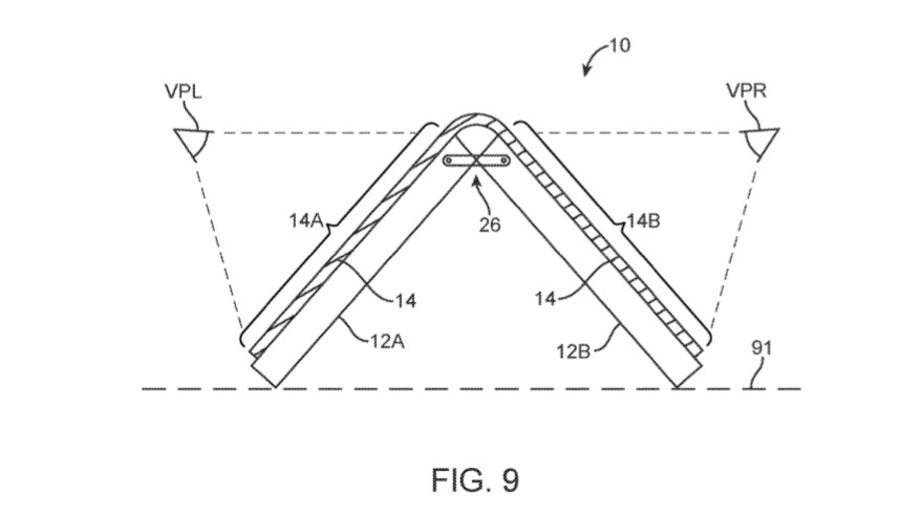 A drawing from Apple's flexible design patent shows a device bent like a pyramid.