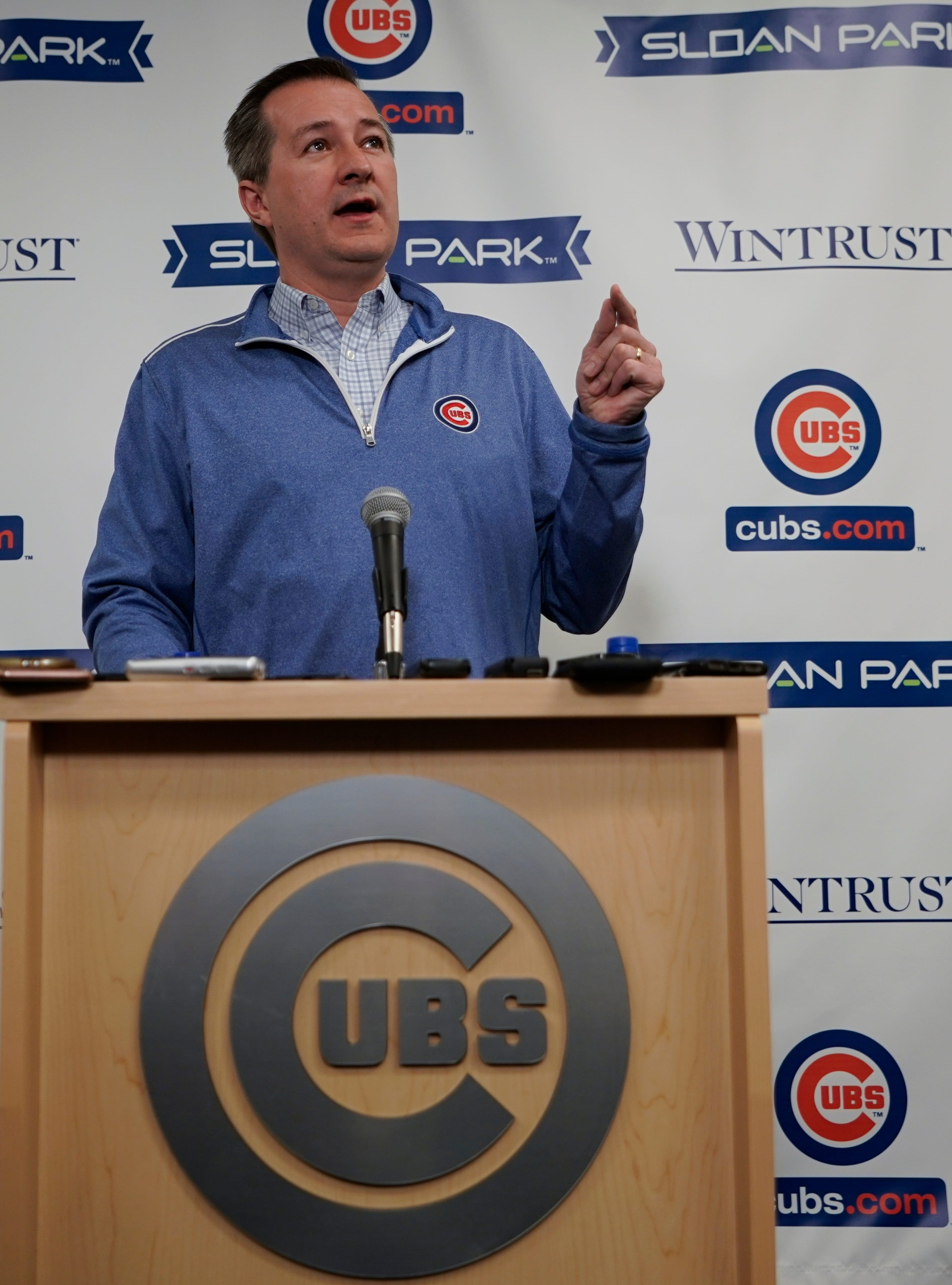Cubs chairman Tom Ricketts speaks ata   press conference Monday.