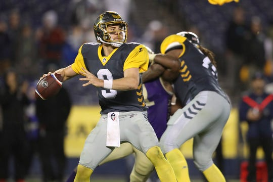 San Diego Fleet quarterback Phillip Nelson (9) makes a pass attempt in the second half of an AAF football game against the Atlanta Legends.