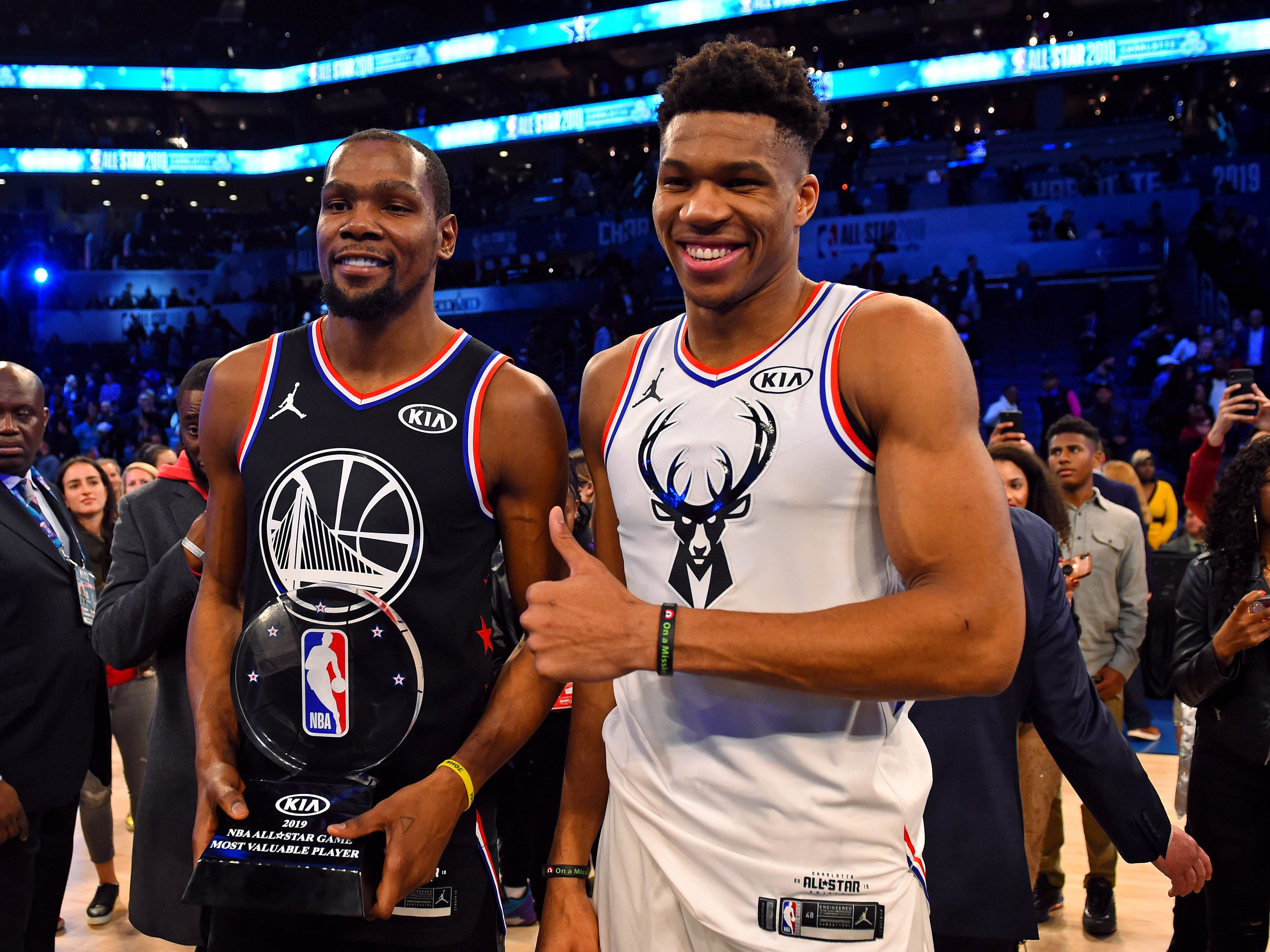 Kevin Durant and Giannis Antetokounmpo pose for a picture after the All-Star Game.