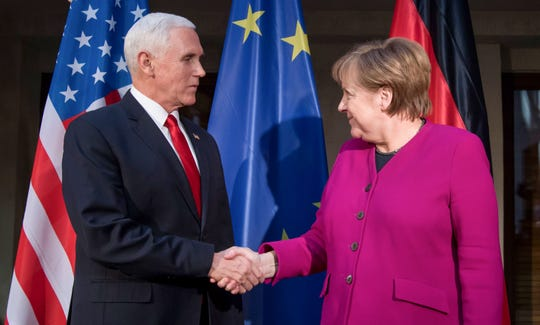 Vice President Mike Pence and German Chancellor Angela Merkel at the 55th Munich Security Conference on Feb. 16, 2019.