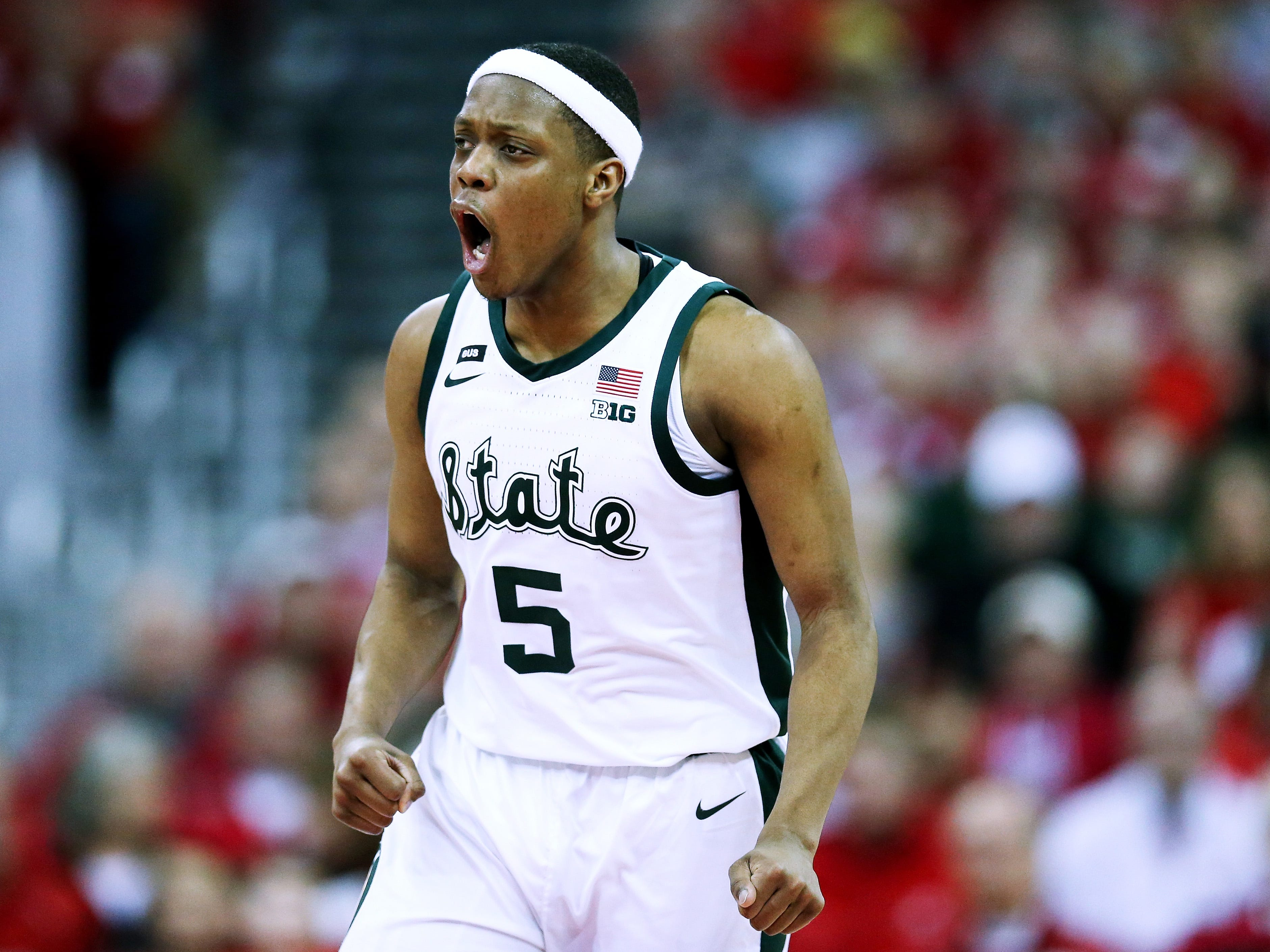 Cassius Winston of the Michigan State Spartans reacts in the first half against the Wisconsin Badgers at the Kohl Center on February 12.